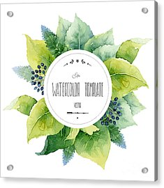 Round Watercolor Template With Green Acrylic Print