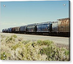 Row Of Container Freight Wagons Of A Acrylic Print