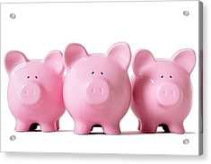 Row Of Pink Piggy Banks Acrylic Print by Hatman12