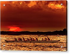Rowing In The Sunset Acrylic Print