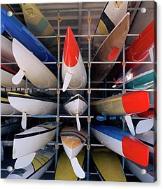 Rows Of Canoes In Boat House, Close-up Acrylic Print