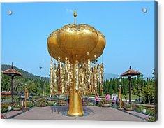 Acrylic Print featuring the photograph Royal Park Rajapruek Golden Sculpture Dthcm2579 by Gerry Gantt