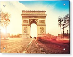 Rush Hour At The Arc De Triomphe In Acrylic Print by Franckreporter