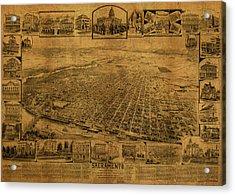 Sacramento California Vintage City Street Map 1890 Acrylic Print