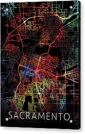 Sacramento California Watercolor City Street Map Dark Mode Acrylic Print