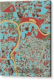 Sacramento Map Retro 3 Acrylic Print