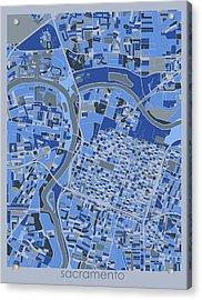 Sacramento Map Retro 5 Acrylic Print