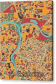 Sacramento Map Retro Acrylic Print