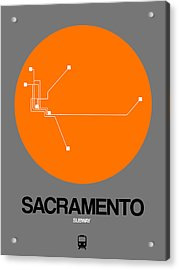 Sacramento Orange Subway Map Acrylic Print