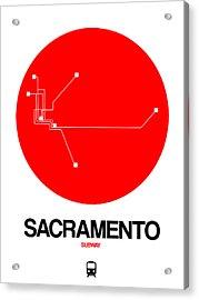 Sacramento Red Subway Map Acrylic Print