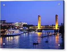 Sacramento River And Tower Bridge At Acrylic Print by Picturelake