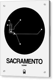 Sacramento White Subway Map Acrylic Print