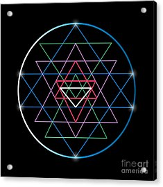 Sacred Geometry And Alchemy Symbol Sri Acrylic Print