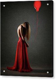 Sad Woman In Red Acrylic Print