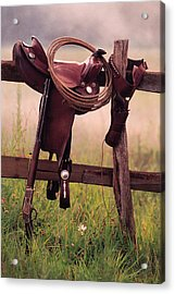 Saddle And Lasso On Fence Acrylic Print by Comstock