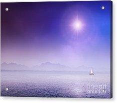 Sail Yacht On Misty Ocean Acrylic Print