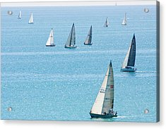 Sailboats Racing On Blue Water Acrylic Print by By Ken Ilio