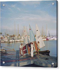 Sailing Dinghy Acrylic Print by Slim Aarons