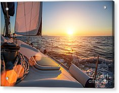 Sailing Ship Luxury Yacht Boat In The Acrylic Print