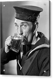 Sailor Drinking Beer Acrylic Print by Fox Photos