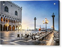 Saint Mark Square With San Giorgio Di Acrylic Print by Ventdusud