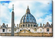 Saint Peter's Basilica Obelisk Acrylic Print by William Perry