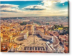 Saint Peters Square In Vatican And Acrylic Print