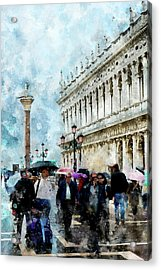 Saint Theodore Sculpture At Saint Mark Square Acrylic Print