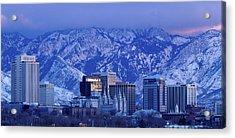 Salt Lake City Skyline With Wasatch Acrylic Print by John Telford Photographs