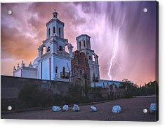 Acrylic Print featuring the photograph San Xavier Mission Lightning by Chance Kafka