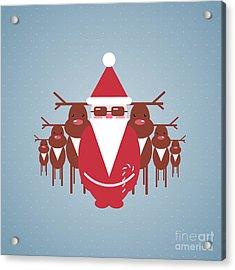 Santa And His Reindeer Gang Acrylic Print