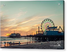 Santa Monica Pier At Sunset, Los Angeles Acrylic Print