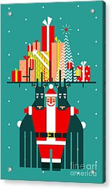 Santa With Deers Gifts And Presents Acrylic Print