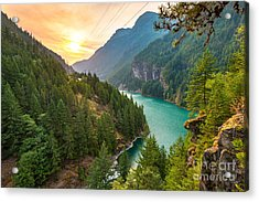 Scene Over Diablo Lake When Sunrise In Acrylic Print