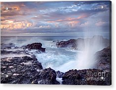 Scenic View Of Blowhole On Rocky Acrylic Print