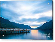 Scenic View Of  Dock In  Lake Crescent Acrylic Print