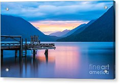 Scenic View Of Pier In Lake Crescent Acrylic Print