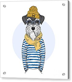 Schnauzer Dog Sailor, Nautical Poster Acrylic Print