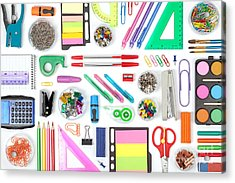 School Tools On White Background Top Acrylic Print