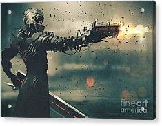 Sci-fi Gaming Character In Futuristic Acrylic Print
