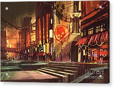 Sci-fi Scene Of Shopping Acrylic Print by Tithi Luadthong