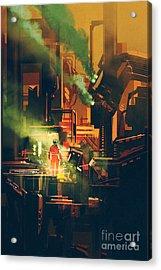 Sci-fi Scene Showing Red Astronaut Acrylic Print