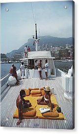 Scottis Yacht Acrylic Print by Slim Aarons