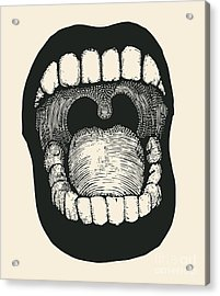 Screaming Mouth. Drawing Style. Vector Acrylic Print