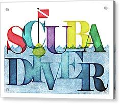 Scuba Diver Colorful Acrylic Print