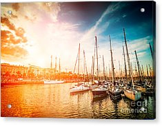 Sea Bay With Yachts At Sunset Acrylic Print