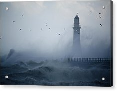 Sea Gulls Fly As Waves Hit The Acrylic Print