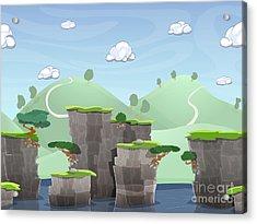 Seamless Cartoon Nature Landscape Acrylic Print