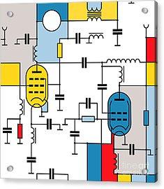 Seamless Colorful  Pattern With Radio Acrylic Print