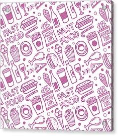 Seamless Fast Food Pattern Acrylic Print by Ilyast